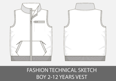 Fashion technical sketch for boy 2-12 years vest in vector graphic