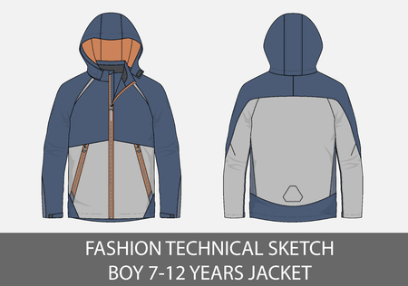 Fashion technical sketch for boy 7-12 years jacket with hood in vector graphic
