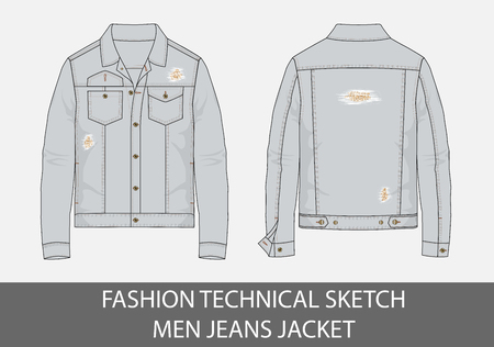 Fashion technical sketch men jeans jacket in vector graphic