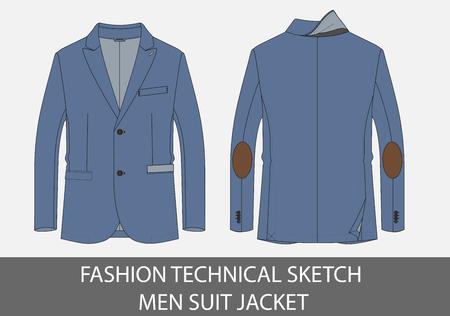 Fashion technical sketch men suit jacket in vector