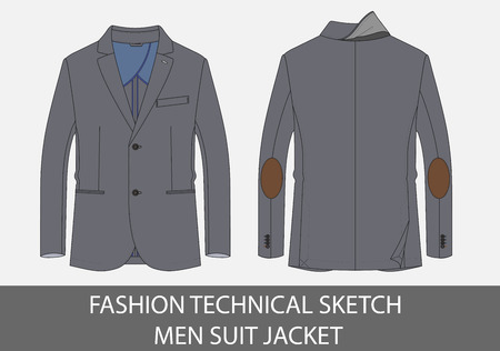 Fashion technical sketch men suit jacket in vector