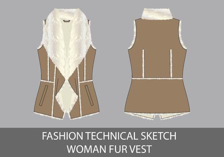 Fashion technical sketch woman fur vest in vector graphic Illustration