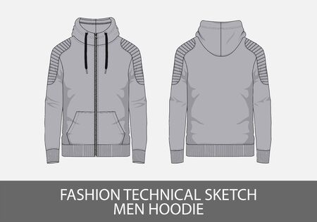 Fashion technical sketch men hoodie in vector graphic
