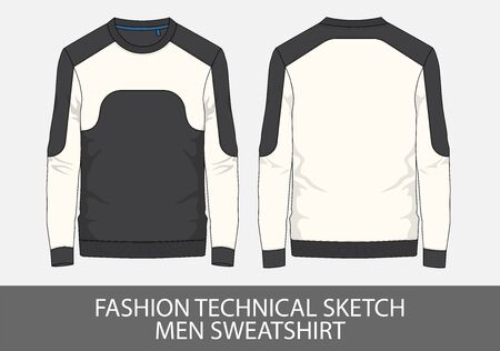 Fashion technical sketch men sweater in vector graphic