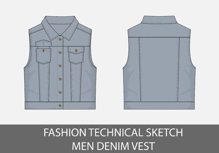 Fashion technical sketch men denim vest in vector graphic Illusztráció
