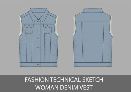 Fashion technical sketch woman denim vest in vector graphic