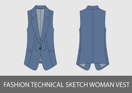 Fashion technical sketch woman vest in vector graphic