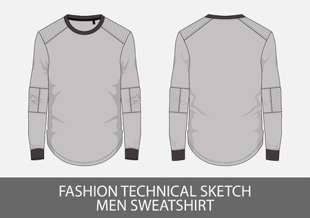 Fashion technical sketch men sweatshirt in vector graphic