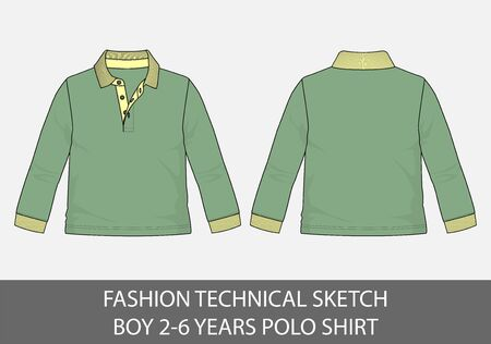 Fashion technical sketch for boy 2-6 years polo shirt in vector graphic  イラスト・ベクター素材