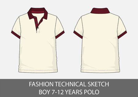 Fashion technical sketch for boy 2-6 years polo in vector graphic