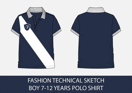 Fashion technical sketch for boy 7-12 years polo shirt in vector graphic 向量圖像