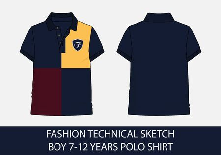 Fashion technical sketch for boy 7-12 years polo shirt in vector graphic  イラスト・ベクター素材