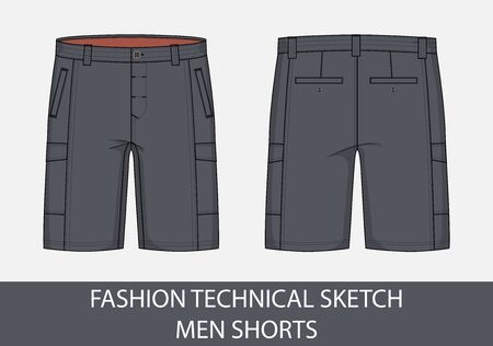 Fashion technical drawing sketch for men shorts in vector graphic