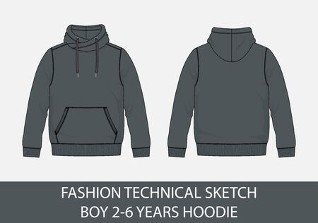 Fashion technical sketch for boy 2-6 years  hoodie in vector graphic  イラスト・ベクター素材