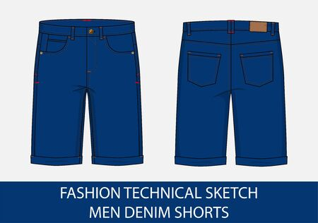 Fashion technical drawing sketch for men denim shorts in vector graphic  イラスト・ベクター素材