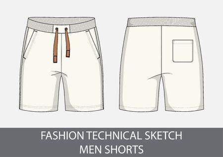 Croquis de dessin technique de mode pour les shorts hommes en illustration vectorielle