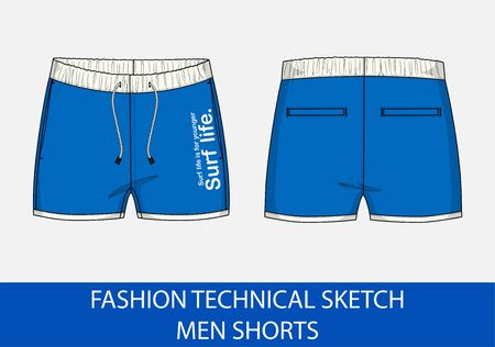 Fashion technical drawing sketch for men shorts in vector graphic Stock Illustratie