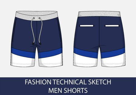 Fashion technical drawing sketch for men shorts in vector graphic  イラスト・ベクター素材