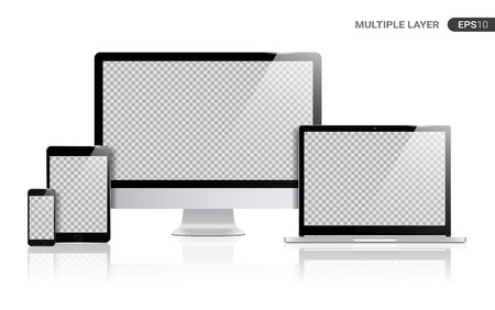 Realistic Computer, Laptop, Tablet and Smartphone with transparent Wallpaper Screen Isolated on white. Set of Device Mockup Separate Groups and Layers. Easily Editable Vector. Vettoriali