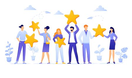 Customer review rating. Different People give review rating and feedback. Customer choice. Know your client concept. Business satisfaction support Rank rating stars feedback. Flat EPS 10 illustration.