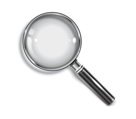 Realistic Magnifying glass with drop shadow on a transparent background - stock vector EPS 10.  イラスト・ベクター素材