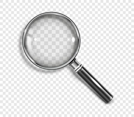 Realistic Magnifying glass with drop shadow on a transparent background - stock vector EPS 10. Vektoros illusztráció