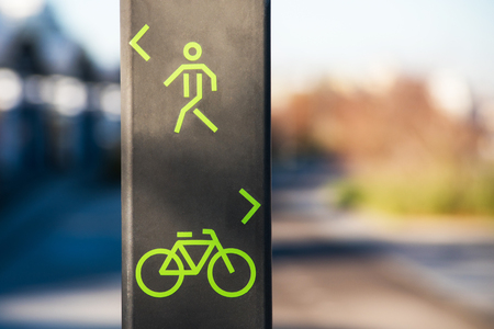 Bicycle and pedestrian lane sign. Stock Photo