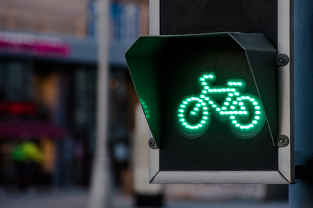 Bicycle traffic light switched to green colour Banco de Imagens