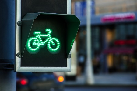 Bicycle traffic light switched to green colour 写真素材