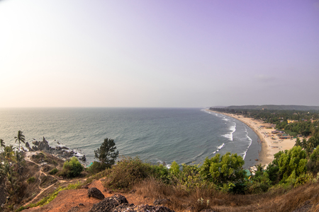 Scenic view of the beach from the mountain