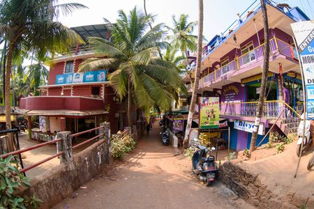 Arambol, Goa, Iindia - March 22, 2017: Street shops of sale of souvenirs and clothes for tourists in the Arambol village