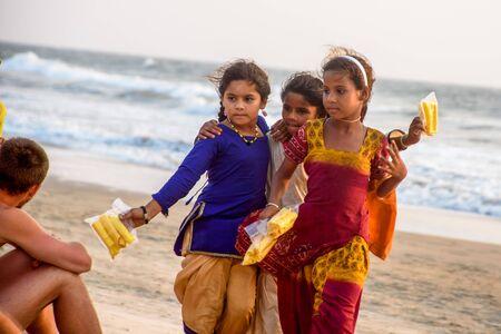 India, Goa, March 22 2017: Unidentified Indian children on the Arambol beach of North Goa Editorial