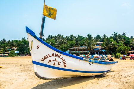 India, Goa, March 31 2017: Fishing boat stand on the sand in Arambol