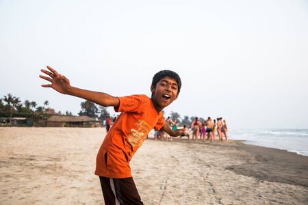 India, Goa, March 23 2017: Indian boy on the Arambol beach Editorial