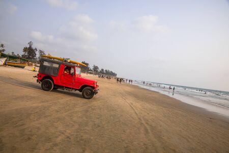 India, Goa, March 23 2017: Rescue car on the Arambol beach