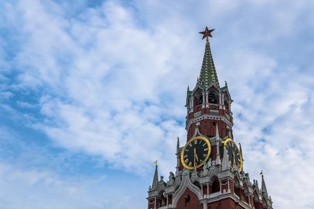 Clock on Spasskaya tower in Moscow Kremlin