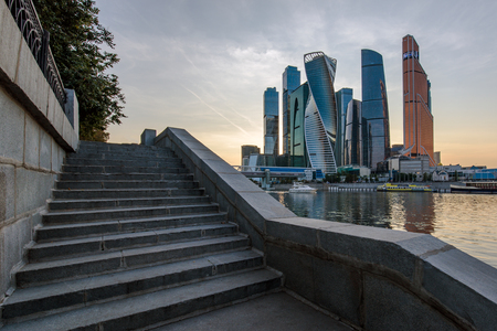 Evening Moscow city skyscrapers panorama with stairway