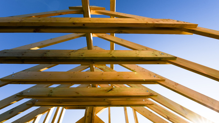 frame house construction. house building. construction industry Stock Photo