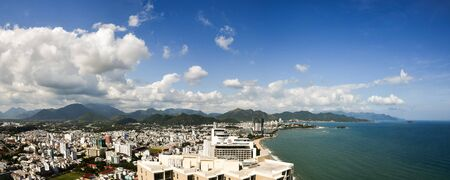 Nha Trang, Vietnam - January 8, 2016 Tropical city coastal panorama
