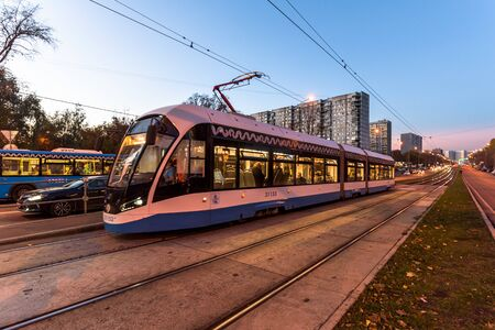 Russia, Moscow - 15 October, 2018: Modern city tram perspective rear view
