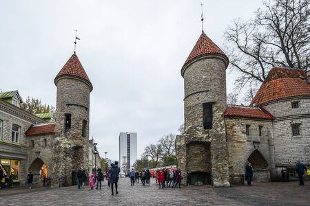 Tallinn, Estonia - November 3, 2018: Twin towers of Viru gates in old town