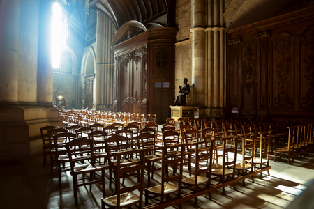 at came: Gothic Cathedral Reims light came through window interior auditorium chairs