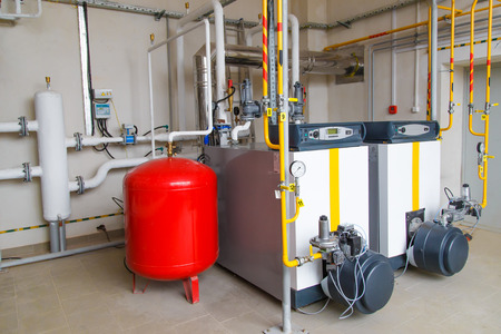 boiler house: modern hi-tech gas boiler house with industrial coppers Stock Photo