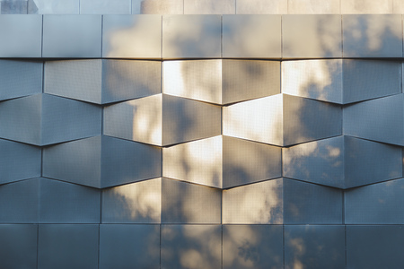 tile cladding: Wall of black metal futuristic new building. Abstract architectural pattern