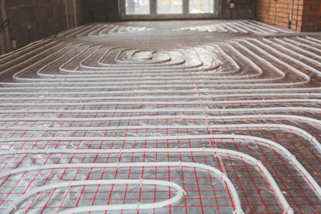 Verwarming gesteld in een gebouw in aanbouw