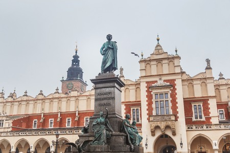 Statue of Adam Mickiewicz on the main square in Krakow in the Old town in Krakow