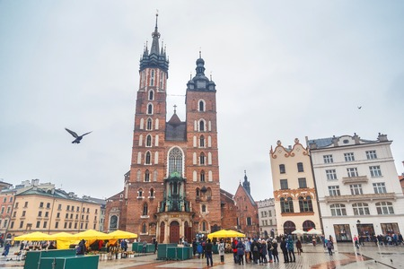 KRAKOW, POLAND, EUROPE - February 05, 2017: Main Market Square and The Cloth Hall in Krakow, Poland, Europe