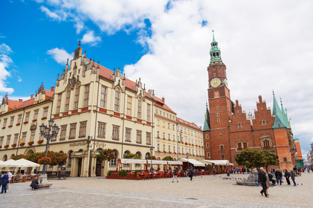 WROCLAW, POLAND - SEPTEMBER 15, 2017: The old town hall of Wroclaw on central market square Editorial