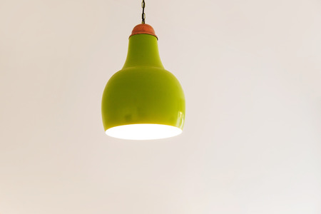 Green Glass Pendant Sconce on White Background