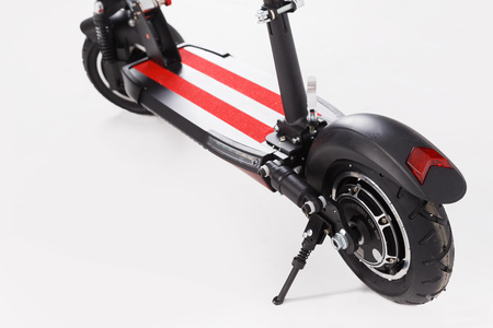 Electric scooter rear wheel with headlight on white.